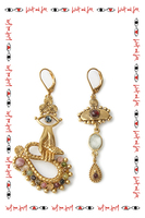 Tourmaline drop earrings with snake and eye motifs  image