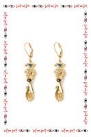 Garnet earrings with flower and hand drop  image