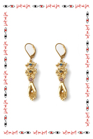 Tourmaline earrings with flower and hand drop  image