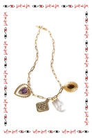 Short necklace with crystals and charms image