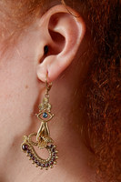 Garnet drop earrings with snake and eye motifs  image