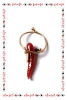 Single earring with coral cornicello  image