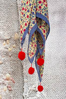 Scarf with Abstract Flowers and Pom poms  image