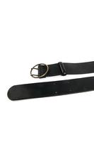 Black round buckle mid width belt  image