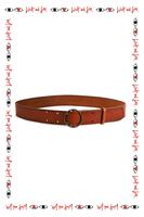 Brown round buckle mid width belt  image