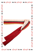 Red and pink knitted belt with tassel ends  image
