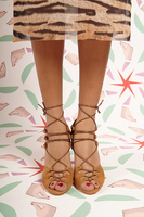 Spaghetti string suede sandals  image
