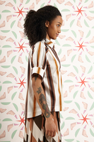 Striped blouse with short sleeves  image