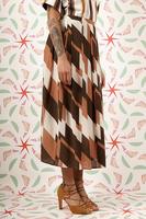 Silk skirt in geometric print  image