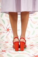 Red and fuchsia suede sandals  image