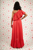 Raspberry one shouldered ruffled dress  image