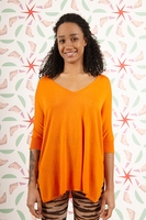 Orange oversized v neck sweater  image