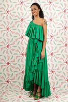 Emerald one shouldered ruffled gown  image