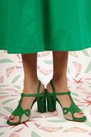 Green high-heeled sandals image