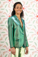 Green and Gold metallic blazer  image