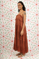 Terracotta long dress with tiers  image
