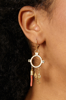 Ring earrings with charms and coral  image