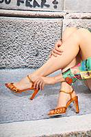 Orange metallic sandals image