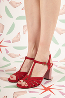 Red Suede Sandals with Check Heel  image