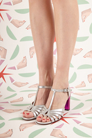 Silver Sandals with Shocking Pink Heel  image