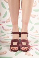 Suede Sandals with Snakeskin Print Heel  image