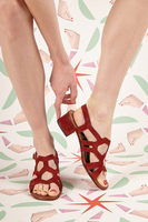Brick Suede Sandals With Cut Outs  image