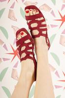 Pomegranate Suede Flat Sandals  image
