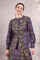 Silk blouse in mixed paisley print  image