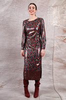 Midi dress in floral lurex velvet  image