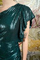 Asymmetrical mini dress in emerald sequins  image
