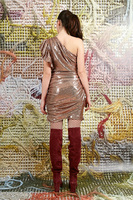 Asymmetrical mini dress in copper sequins  image