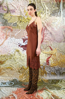 Brown slip dress with lace trim  image