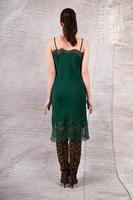 Emerald slip dress with lace trim  image