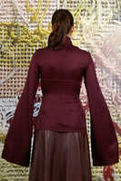 Aubergine top with flared sleeves  image