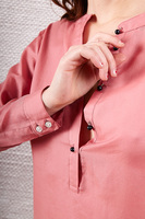 Dusty rose blouse with mandarin collar  image