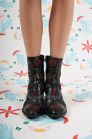 Heart and Rose Embroidered Ankle Boots  image